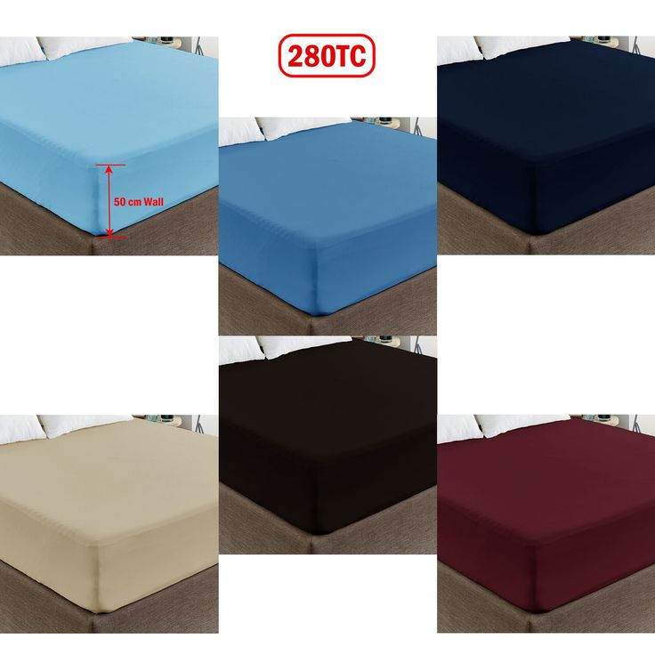 280TC Polyester Cotton Percale 50cm Wall Fitted Sheet King
