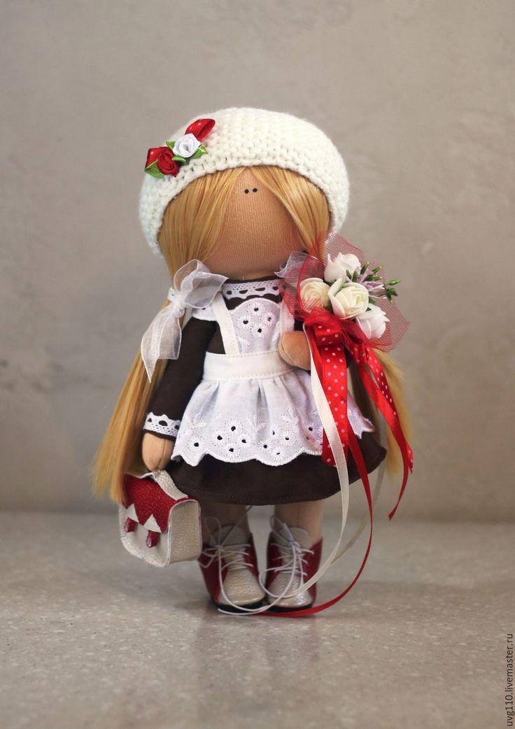 Купить Первоклассница - коричневый, день учителя, подарок учителю, подарок учительнице, первоклассница, интерьерная кукла