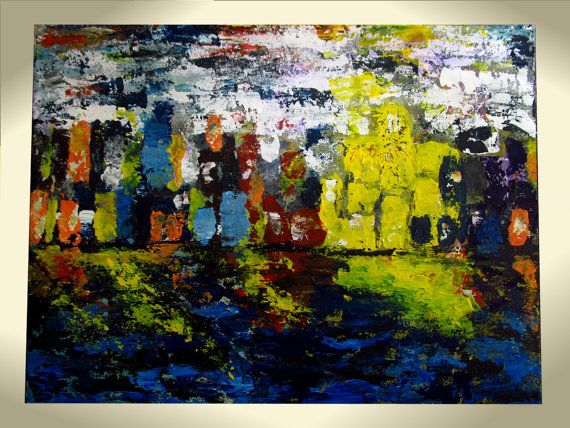 Abstract Cityscape Painting city night  Original by ninthiArt, $65.00