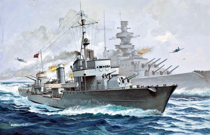 """hanspanzer: """"Scharnhorst y Destructor Z-38 durante la Operación Cerberus,1942. Para mi una de las mejores laminas que e visto sobre la Kriegsmarine y destructores alemanes. """""""