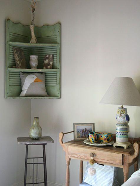 Shutters as a corner shelf