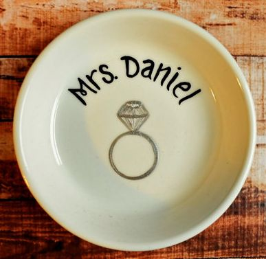 Gifts for the Bride: Personalized Ring Dish @ Etsy