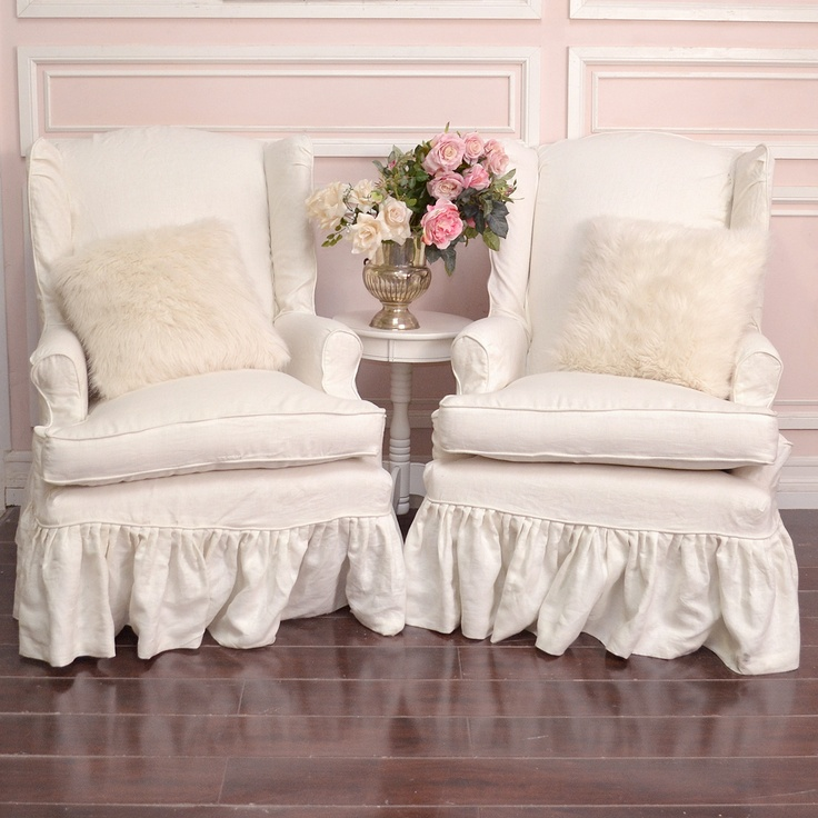 slipcovered chairs shabby chic shabby cottage chic pair of white linen slipcovered wingback. Black Bedroom Furniture Sets. Home Design Ideas