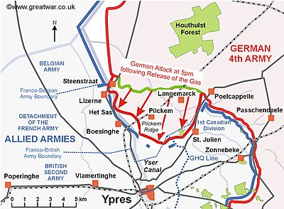 Map of the Ypres Salient to show the area of ground gained by the Germans by the end of the day on 22 April 1915.