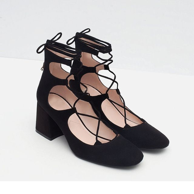 Das mulheres da forma do dedo do pé quadrado cruz sapatas da bomba do salto tornozelo bangdage 6 cm de espessura média