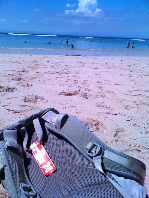 Have laptop & back pack… will travel. Working from anywhere is a way of life. Padang Padang Beach Bali. www.sharingbali.com