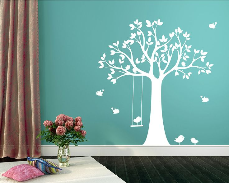 This wall decal is a large tree with swinging birds. You may paste this decal in your living room as well as you bedroom, or nursery will be great.Applying such a tree wall decal in your interior room will surely bring some pureness and vitality to your own space.SIZE & PRICE:&