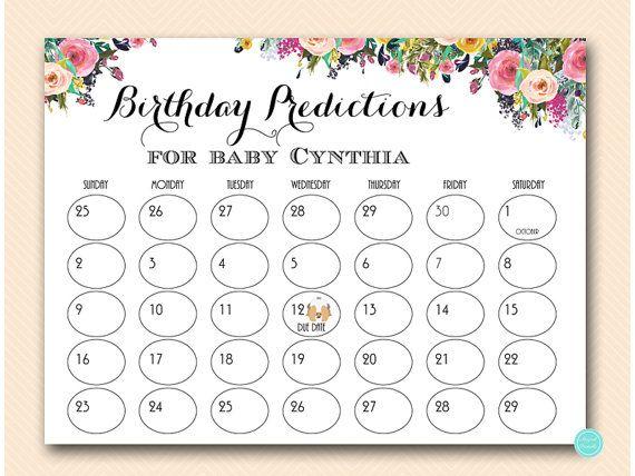 Baby Prediction Calendar baby prediction by MagicalPrintable #babyshowerideas4u #birthdayparty  #babyshowerdecorations  #bridalshower  #bridalshowerideas #babyshowergames #bridalshowergame  #bridalshowerfavors  #bridalshowercakes  #babyshowerfavors  #babyshowercakes