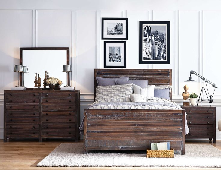 From The Townsend Collection. Urban Style Bedroom Group Made In A Vintage  Mahogany Finish.