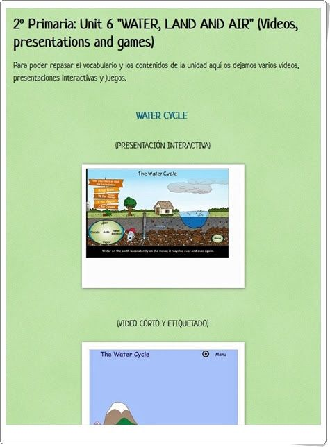 "Unidad 4 de Social Science de 2º de Primaria: ""Water and air"""