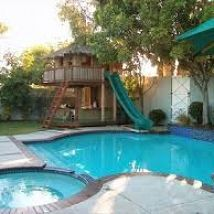 Backyard Pools With Slides backyard retreats | playhouses, summer and backyard