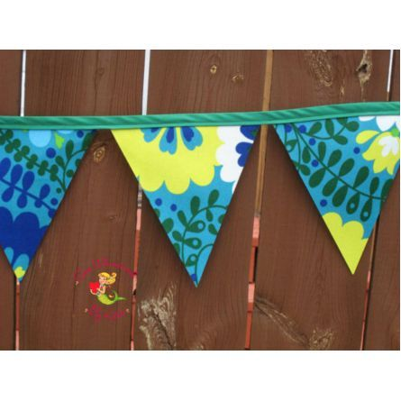 Home :: Outdoor Décor :: Custom Made Outdoor Bunting Flag Banner, Outdoor Fabric Pennat Banner, Garden Decor, Fence Wall Hanging, Outside Banner/Decoration by Sew Whimsical $40