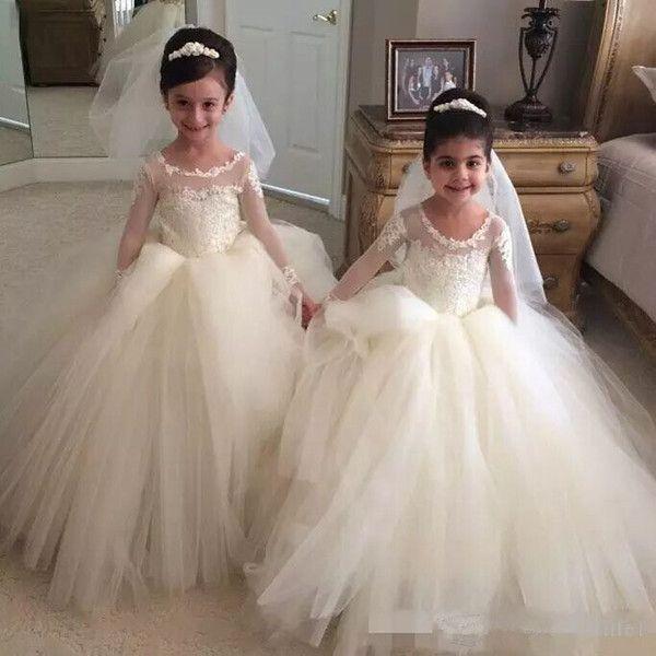 2018 White Tulle Flower Girls Dresses Ball Gowns Jewel Neck Girls ...