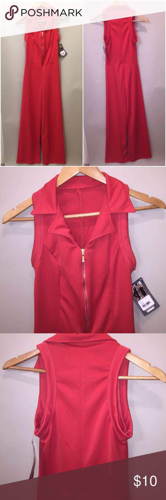 NWT Front Zip Jumpsuit Full disclosure, this thing says XL... XL in the land of skeletons perhaps. This is more proportional to a women's Small/Medium. Perhaps a 4 or 6 dress size. Stretchy but not enough for my size 12 butt. Good luck to you! AM:PM Pants Jumpsuits & Rompers