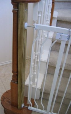 To mount baby gate to irregularly shaped banister post: attach 2x4 through holes with zip ties (stain wood to match banister). Will use pressure mounted at bottom of stairs and hardware mounted at top