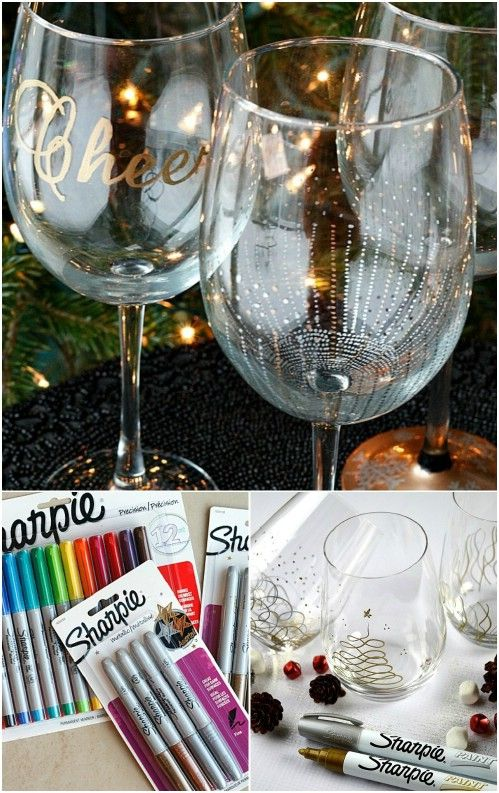 Decorating with Sharpies. Would be great for News Year Eve party with clear plastic cups and stem glasses.