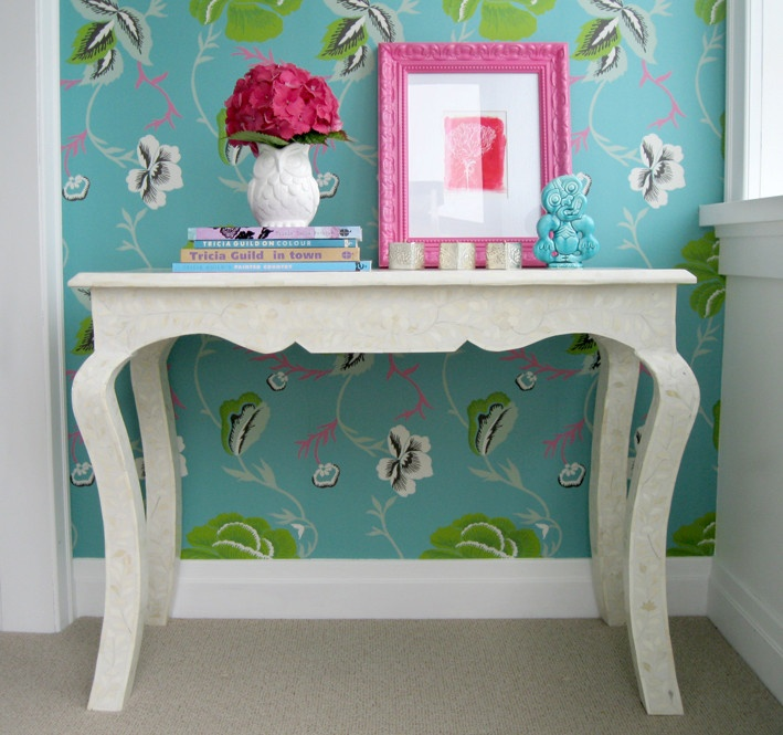 White French style bone inlay console table