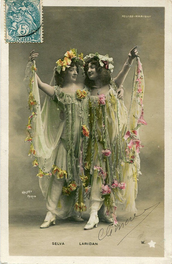 Original French vintage hand tinted real photo postcard - Two actresses in beautiful dresses with flowers