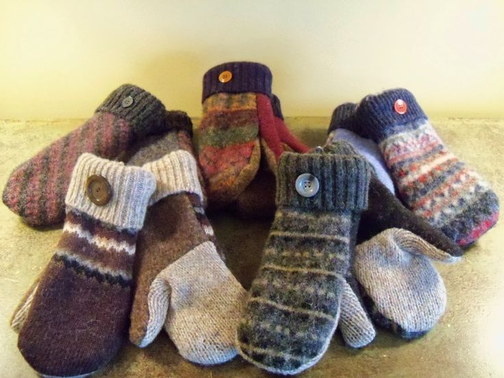 """Upcycled"" Wool Mittens... Cute, Warm & Cozy. Made out of recycled wool sweaters, fleece and cute button bling!"