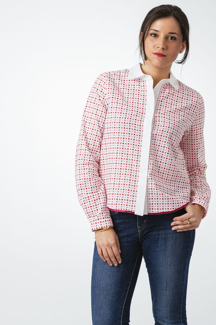 Camisa cuadros vichy en tonos rosa