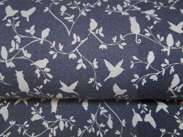 Jogging stof, vogel/kat print, jeans blauw/wit. X1428