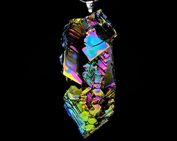 Color Fountain, Iridescent Bismuth Metal Crystal beneath a Sterling Silver Bail, Crystal Pendant on Leather or Snake Chain Necklac by Element83 on Etsy https://www.etsy.com/listing/216798608/color-fountain-iridescent-bismuth-metal