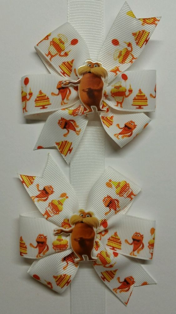 2 Dr. Seuss/ The Lorax Inspired Hair Bows/ Boutique Pigtail Bows #Unbranded