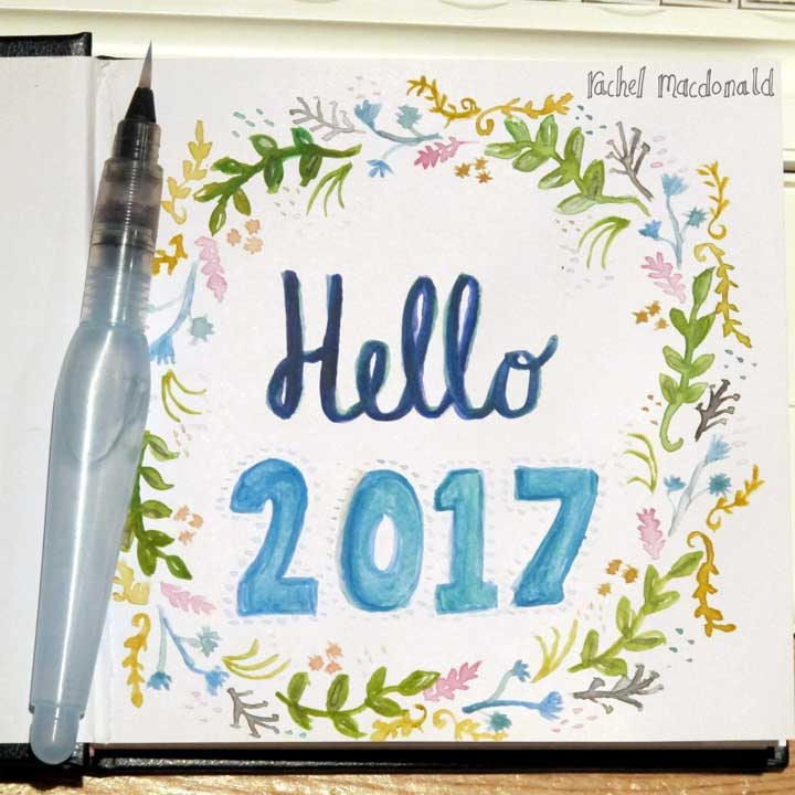 rachel macdonald design - 'Hello 2017'  The excitement of starting a new sketchbook! This will be for a record of the random objects that catch my eye each day - nice packaging; great shapes; difficult shapes to challenge me and so on. My everyday things and things I encounter along the way. :)