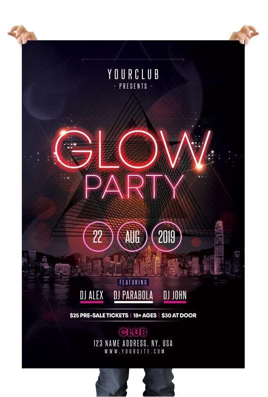 Glow Party – Free PSD Flyer Template #flyer #flyertemplate