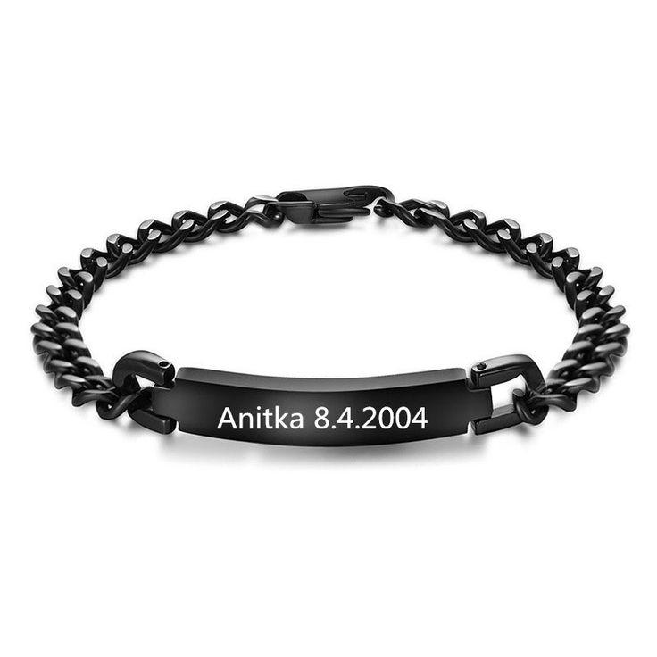 Aangepaste Naam/Woorden/Letters Zwart Rvs Armbanden Voor Mannen/vrouwen Huwelijkscadeau, Monogram Woorden Zwart armbanden Sieraden(China (Mainland))