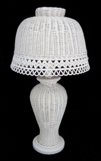 Vintage Scalloped Wicker Lamp