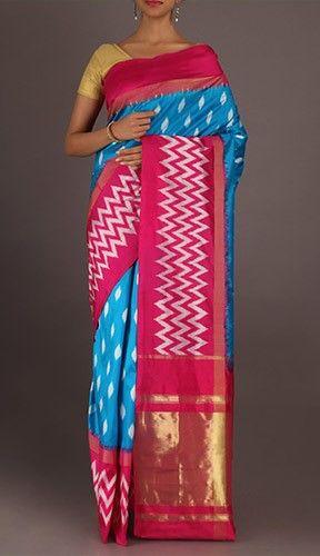 Vasanthi Twinkling Dockets Hot And Cool Ikat Pochampally Silk Saree