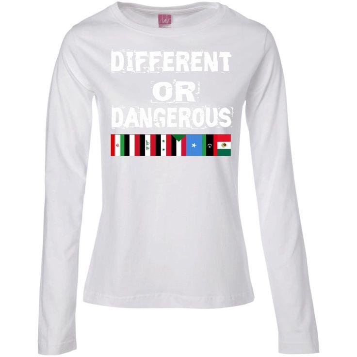 Different OR Dangerous Iran Iraq Sudan Mexico Flag Ladies' Long Sleeve Cotton TShirt