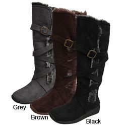 @Overstock.com - Ultra-warm and super trendy, these womens faux fur boots are made from plush microsuede with a plush lining for ultimate comfort and a zipper entry for easy wear. The side strap design with accent buckle gives these boots a style that is all their own. http://www.overstock.com/Clothing-Shoes/Adi-Designs-Womens-Faux-Fur-Microsuede-Boots/3668257/product.html?CID=214117 $47.99