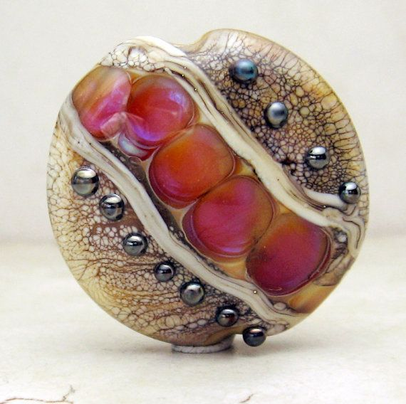 Lampwork Glass Bead Lentil Focal by StoneDesignsbySheila on Etsy, $30.00