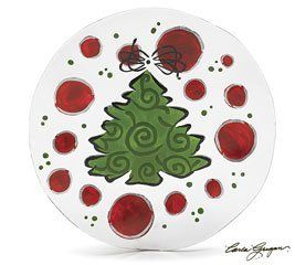 Adore Him Christmas Tree Plate Red Green Dots by Adore Him Collection. $16.95