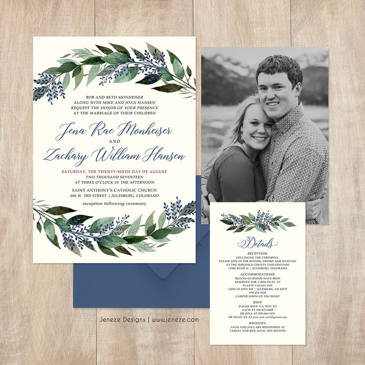 Wedding invitations with greenery and blue flowers