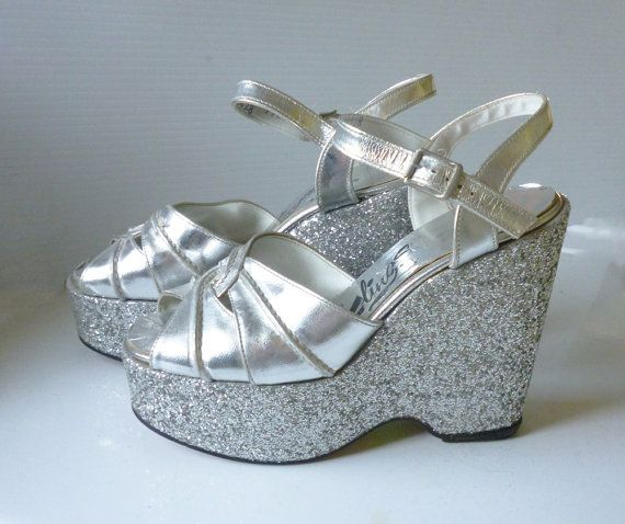 1970's silver glitter platforms.  These were a great thrift store find - I  wore them til the glitter came off and they fell apart!