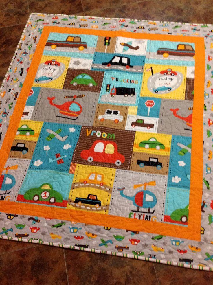 Baby boy crib quilt -- Vroom 2 -- cars, trucks, blue, brown, yellow, orange. $135.00, via Etsy.