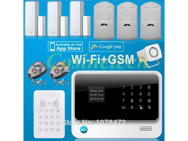 G90B Smart home alarm system IOS&Android APP controlled Wifi Alarm system with GSM,GPRS,RFID  alarm system for home,office,shop