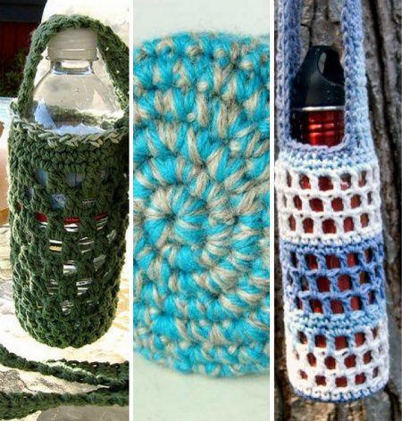 botella de agua se entiende de ganchillo