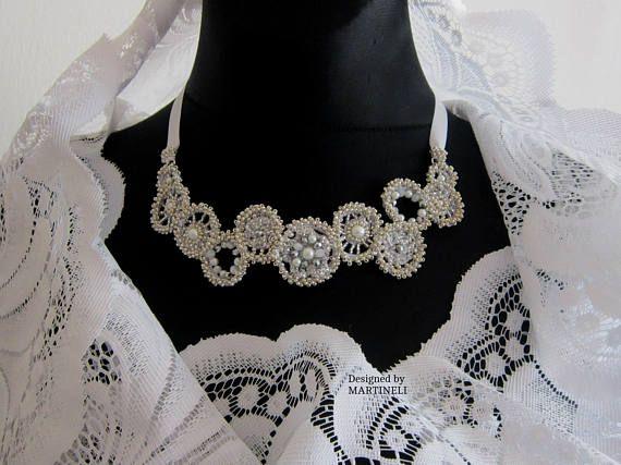 White Beaded Bib Swarovski Pearls Boho Wedding White Statement