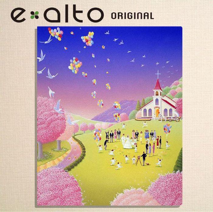 風景画,桜と春の結婚式のイラスト鳩と風船お祝い,披露宴,挙式,教会,白いハト,馬車,記念写真