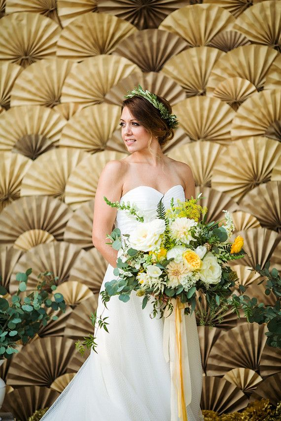Paper fan wedding backdrop, ivory and yellow bridal bouquet, silk ribbon, bridal floral crown