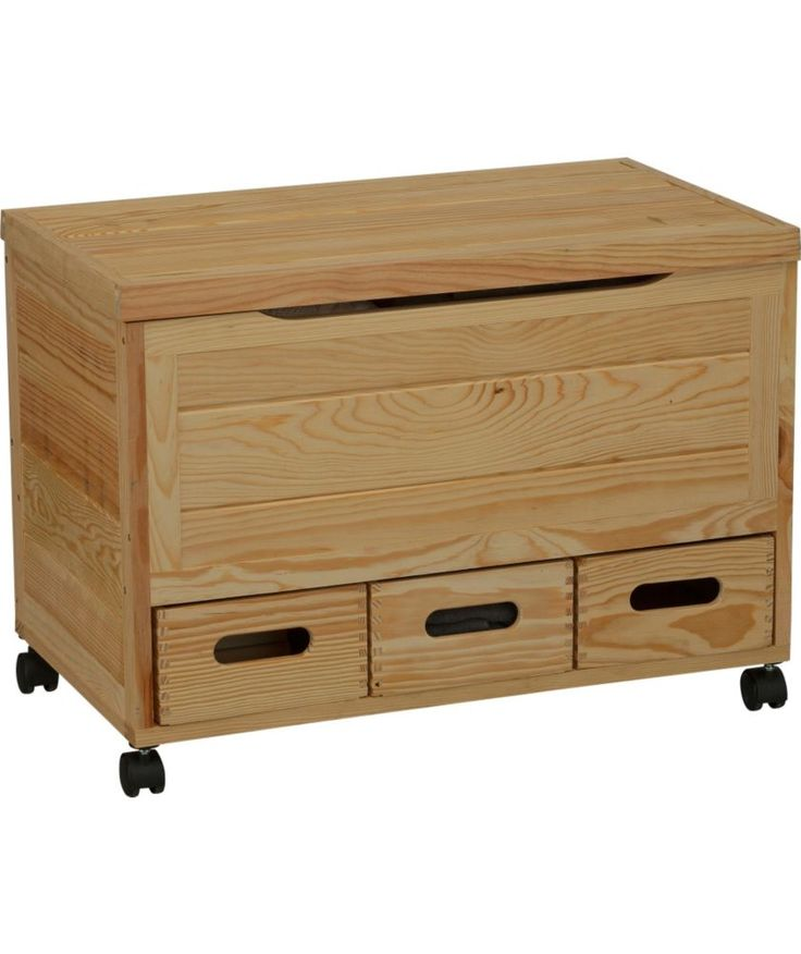 Buy Wooden 3 Drawer Storage Chest On Wheels Pine At