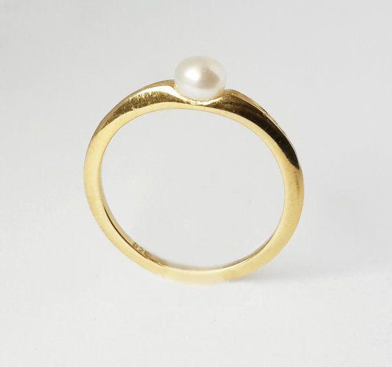 Anello perla oro anello perla bianco a 14 k oro di RoePressJewelry