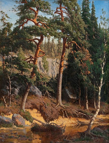 In the forest, 1878, CHURBERG Fanny (1845-1892) - Fanny Churberg's career ended suddenly in 1880.The reason for ending her career might have been the harsh criticism she had met before, but she never withdrew completely from the art circles. She did not however paint anymore after 1880, not even to her own amusement, but during her career she had still managed to paint over 300 paintings.