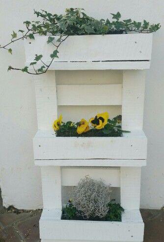 Halbe Palette zum Blumenregal umgewandelt