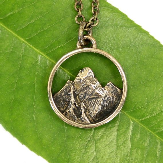 Mountain Necklace In Solid Bronze Rocky Mountain Pendant 480