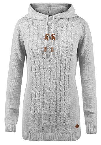 635072df7bffb7 DESIRES Cable Damen Winter Strickpullover Troyer Grobstrick Pullover mit  Kapuze